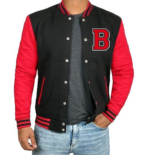 Black And Red Letterman Jacket Men High School Varsity Mens