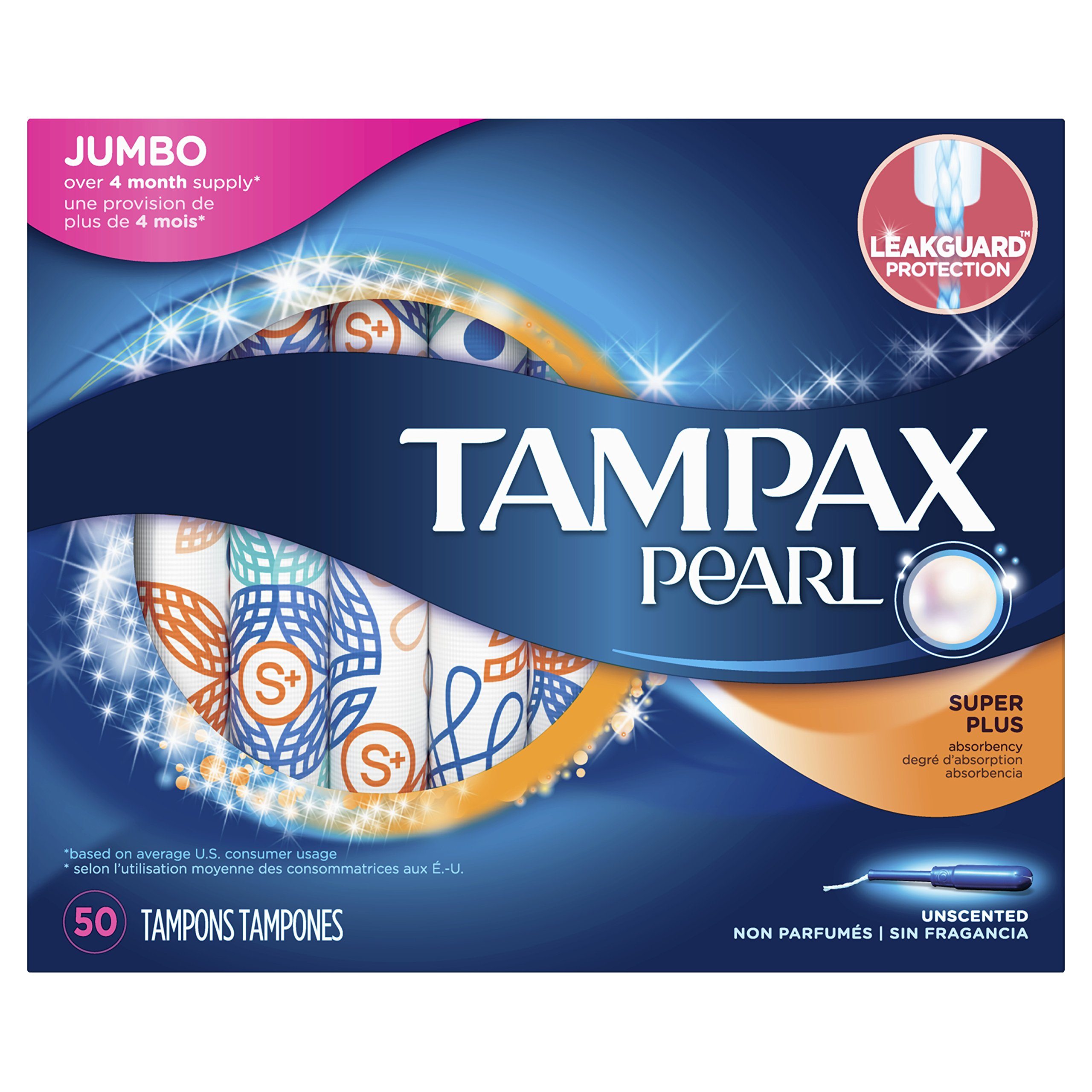 Tampax Pearl Plastic Tampons, Super Plus Absorbency, Unscented, 50 Count