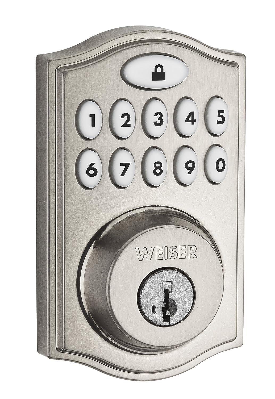9GED18000-008 Satin Nickel Compatible with  Alexa Weiser Zigbee Electronic Keypad Smart Lock Exterior Door Lock