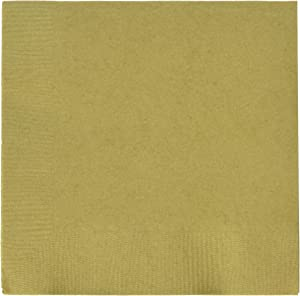 amscan Gold 2-Ply Beverage Napkins   Pack of 50   Party Supply, 6.5