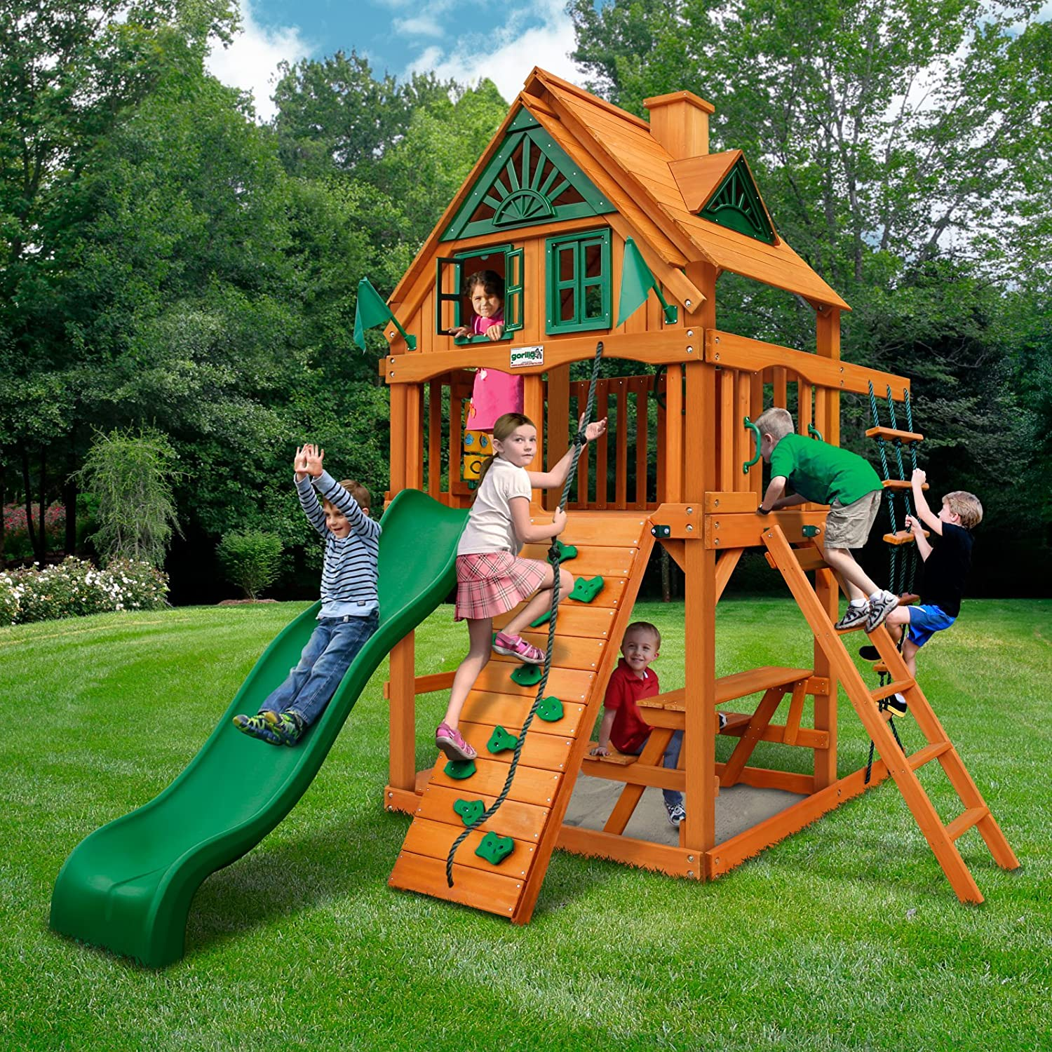 amazon com gorilla playsets chateau tower treehouse with timber