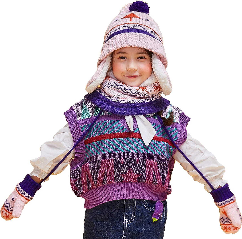 TRIWONDER Cappello Inverno Bambino Scaldacollo Sciarpa Invernale Guanti da Neve Berretto in Maglia Serie Invernale per Ragazzo Ragazza