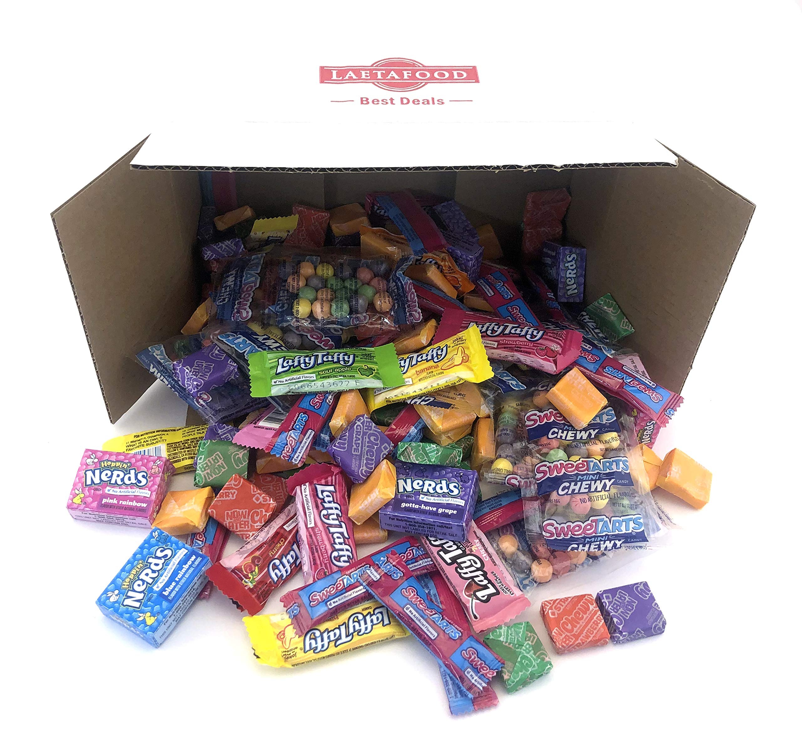 Halloween Candy Treats Assortment - Wonka Laffy Taffy Assorted Flavors, Nerds Mini Boxes, Now and Later Chewy Candy, SweeTarts Mini Pouch and Fun Size (10 Pounds Bulk Pack) by LAETAFOOD