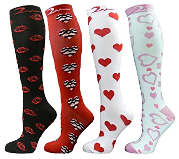 4 Pair Small/Medium Extra Soft Premium Quality Colorful Moderate/Medium Graduated Compression Socks