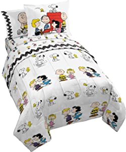 Peanuts Classic Pals 7 Piece Full Bed Set - Includes Reversible Comforter & Sheet Set - Bedding Features Snoopy & Charlie Brown - Super Soft Fade Resistant Microfiber - (Official Peanuts Product)