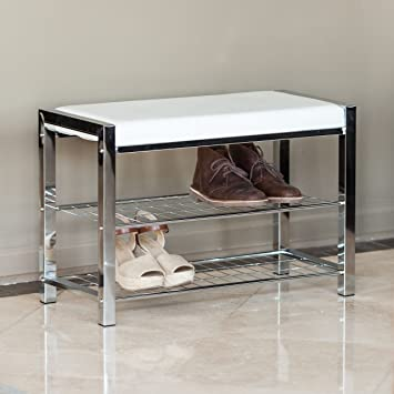Danya B. White Leatherette Storage Entryway Bench With Chrome Frame