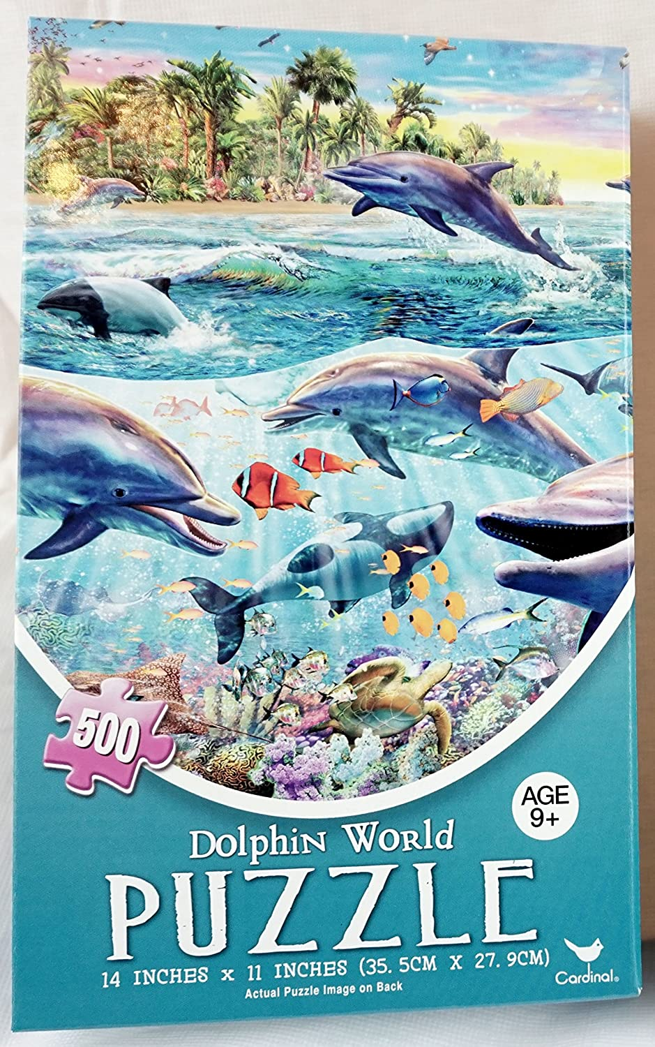 New Dolphin World Jigsaw Puzzle Beautiful Colorful 500 Piece Oceanic Sea Dolphin Picture Folk Art