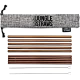 Jungle Straws   Reusable Stainless Steel Drinking Straws   Premium Copper Metal Straw Set of 10   Eco Friendly Straws   Includes Cleaning Brush & Jute Storage Bag