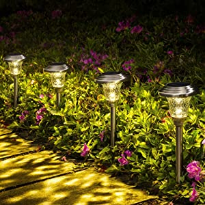 GIGALUMI 8 Pack Solar Pathway Lights, Solar Garden Lights Outdoor Warm White, Waterproof Led Path Lights for Yard, Patio, Landscape, Walkway (Stainless Steel)