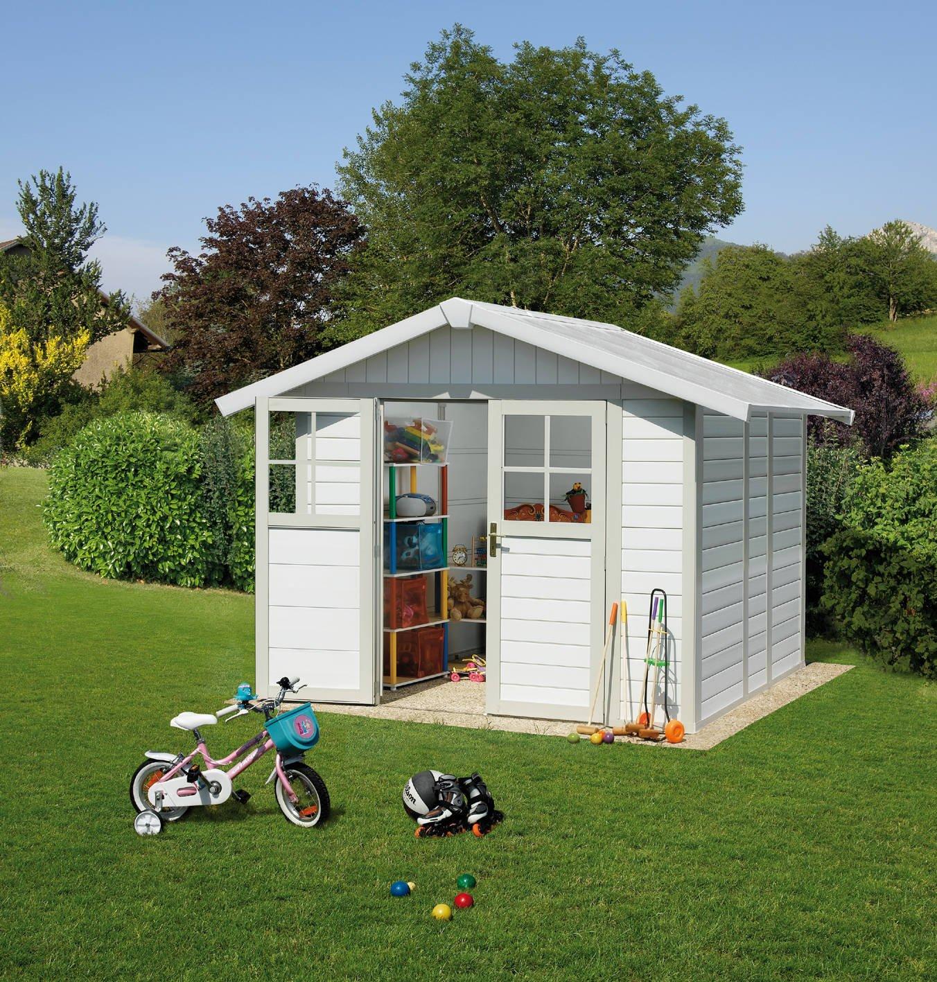 caseta cobertizo de resina jardin grosfillex deco5 4.90 m2 color gris verde: Amazon.es: Bricolaje y herramientas