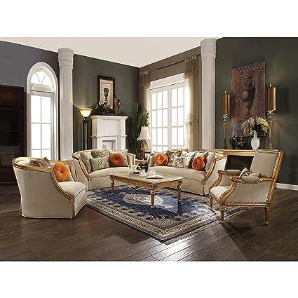 Acme Daesha Sofa W/8 Pillows, Fabric U0026 Antique Gold Sofa Style Cushions Mid