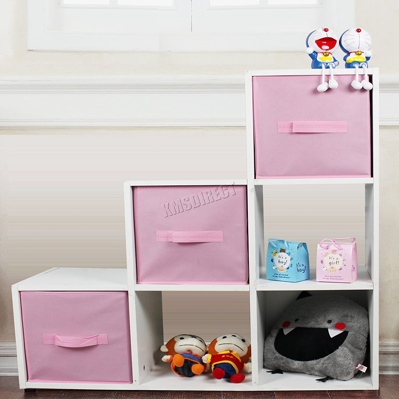 FoxHunter 6 Cube Toy Games Storage Display Shelves Bookshelf With 3 Free Woven Drawers 3 Tier Unit Organiser Rack Kids Children Bedroom TSS01 PB White Pink KMS