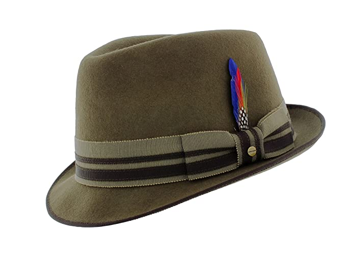 f87a9ae58825ee Stetson Wool-Felt Pork Pie Trilby in Olive Green: Amazon.co.uk: Clothing