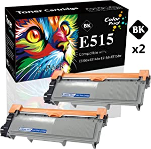 (2-Pack, Black) Compatible Dell E515dw 593-BBKD Toner Cartridge E310dw Used for Dell E310 E514dw E515dn E515 Printer (E310/514/515H), by ColorPrint