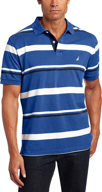 Nautica Mens Short Sleeve Stripes Pique Shirt