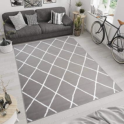 TAPISO Luxury Tappeto Moderno Soggiorno Camera da Letto Salotto Bianco  Grigio Chiaro Linee A Pelo Corto 160 x 220 cm