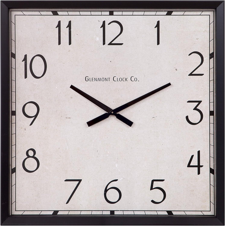 Amazon Com Patton Wall Decor Modern Square Clock Oversized Black Home Kitchen