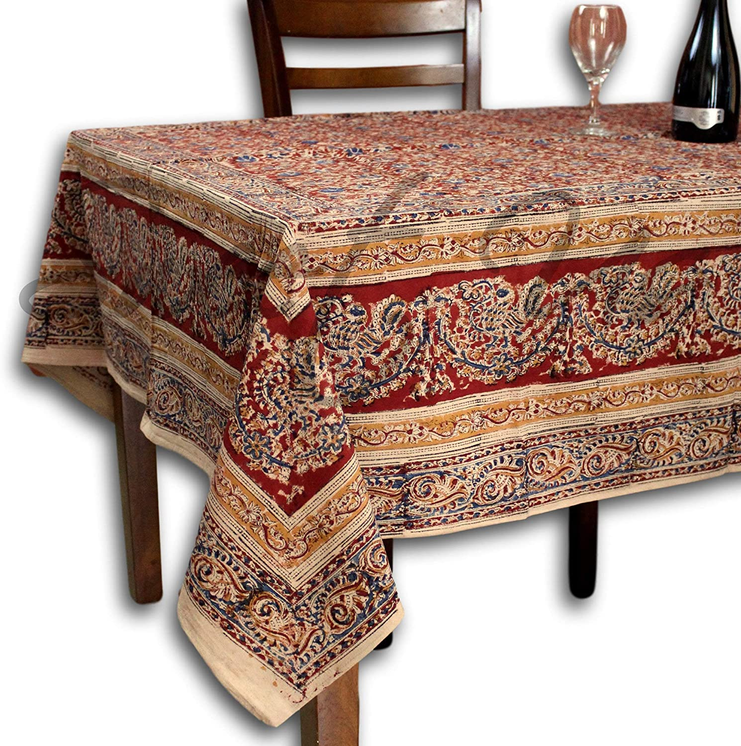 Block Print Red Square Tablecloth 60x60 inches for Dining and Kitchen Vegetabe Dye Cotton Floral Table Linen