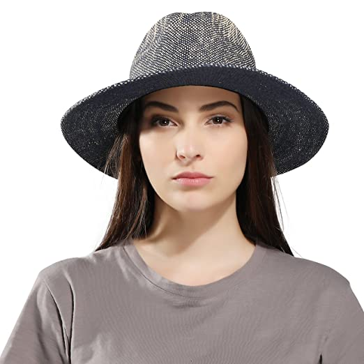 2af9b4834c6 Image Unavailable. Image not available for. Color  Women s Wide Brim Straw  Fedora Hat Sun Hat Classic Safari Panama Hat