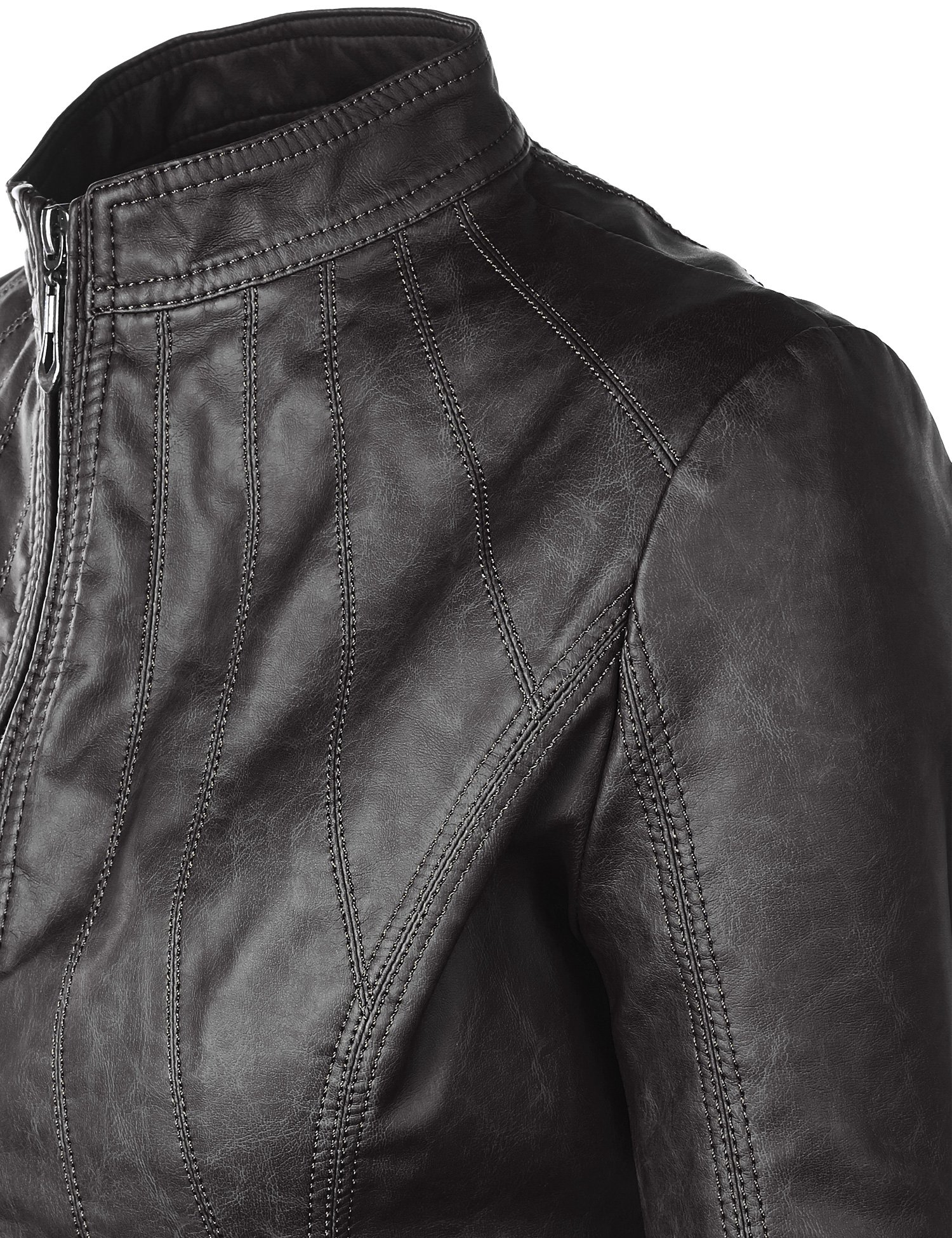 WJC877 Womens Panelled Faux Leather Moto Jacket L BLACK by Lock and Love (Image #4)
