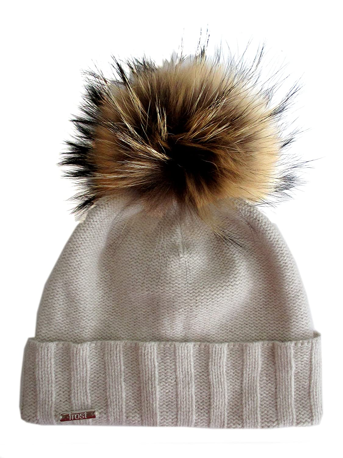 9b017c98753 Frost Hats Chic and Classy Cashmere Beanie Hat for Women with Detachable  Genuine Fox Fur Pom CSH-804RN