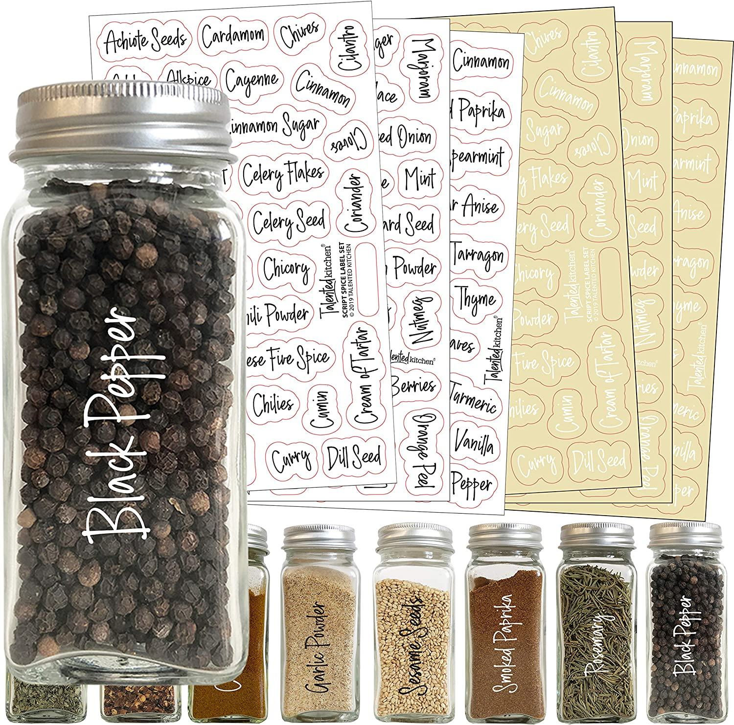 Talented Kitchen 200 Script Spice Label Combo – 200 Black & White Preprinted Labels: Most Common Spice Names in 2 Letter Colors on Clear Stickers. Waterproof, Spice Jar Labels Spice Rack Organization