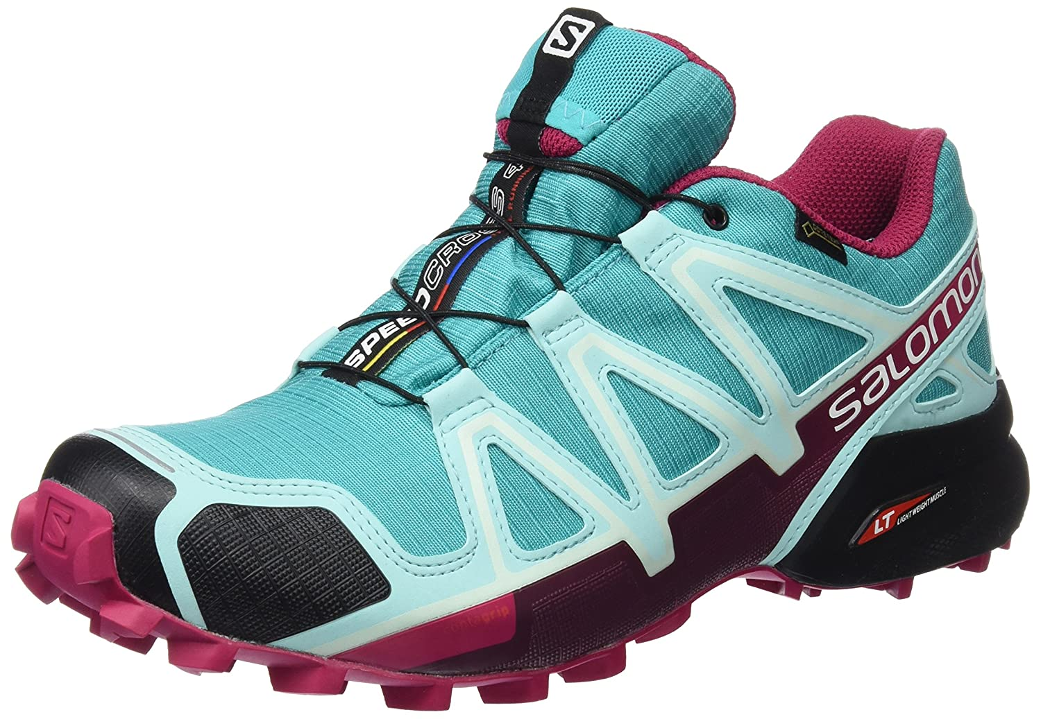 Salomon Women's Speedcross 4 GTX W Trail Running Shoe B01HD2NGD0 6.5 B(M) US|Ceramic/Aruba Blue/Sangria
