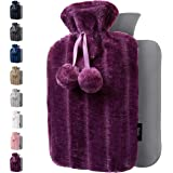 Hot Water Bottle with Soft Cover - 1.8L Large - Hot Water Bag for Pain Relief, Cramps, Back, Neck, Feet, Menstrual Cramps, Ba