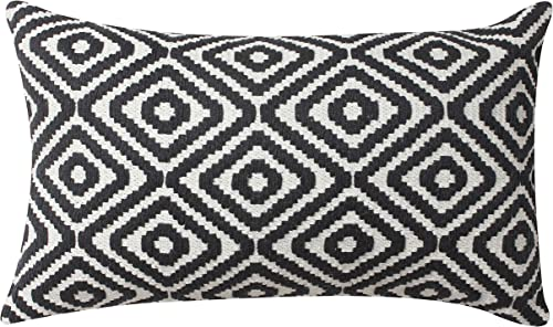 ThymeHome Fully Adjustable Hypoallergenic Premium Quality Hand Woven Throw pillows-100 Breathable Cotton Anti-Odour Indoor Decorative Pillow Cases, 12×20 inches Pillow, Black and White Pattern.