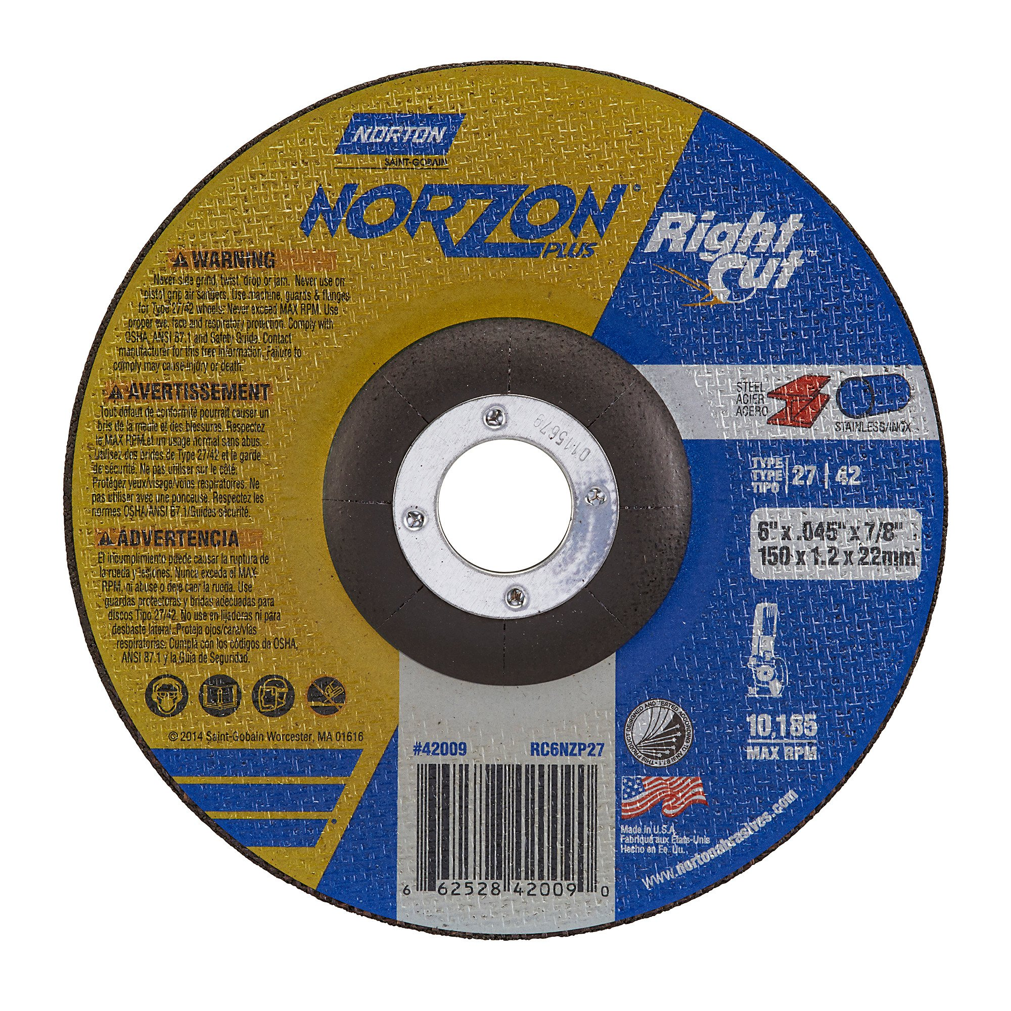 Norton NorZon Plus Right Cut Right Angle Grinder Reinforced Depressed Center Abrasive Cut-off Wheel, Type 27, Zirconia Alumina, 7/8'' Arbor, 6'' Diameter x 0.045'' Thickness  (Pack of 25)