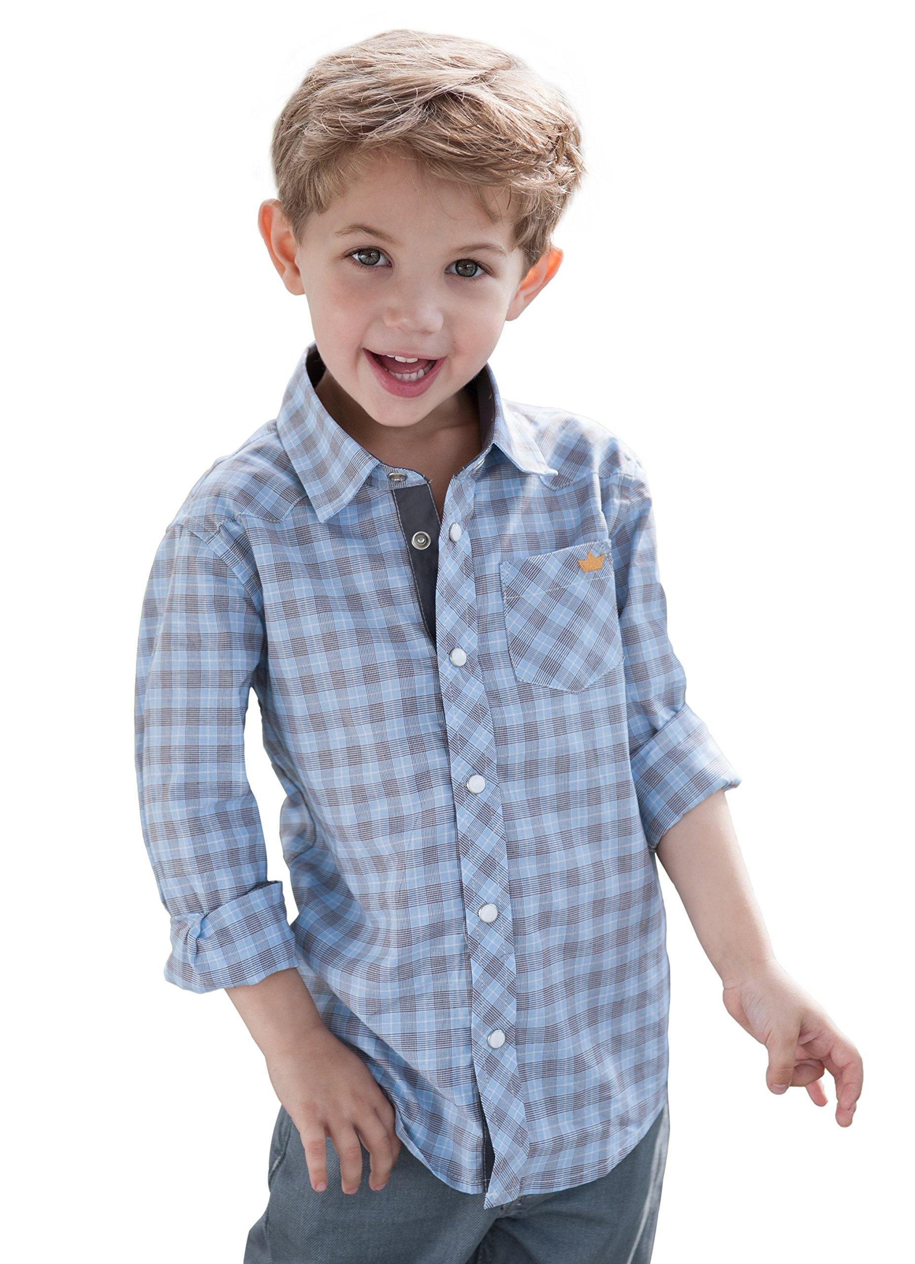Dakomoda Toddler Boy's Cotton Blue Check Western Plaid Snap Shirt 3T