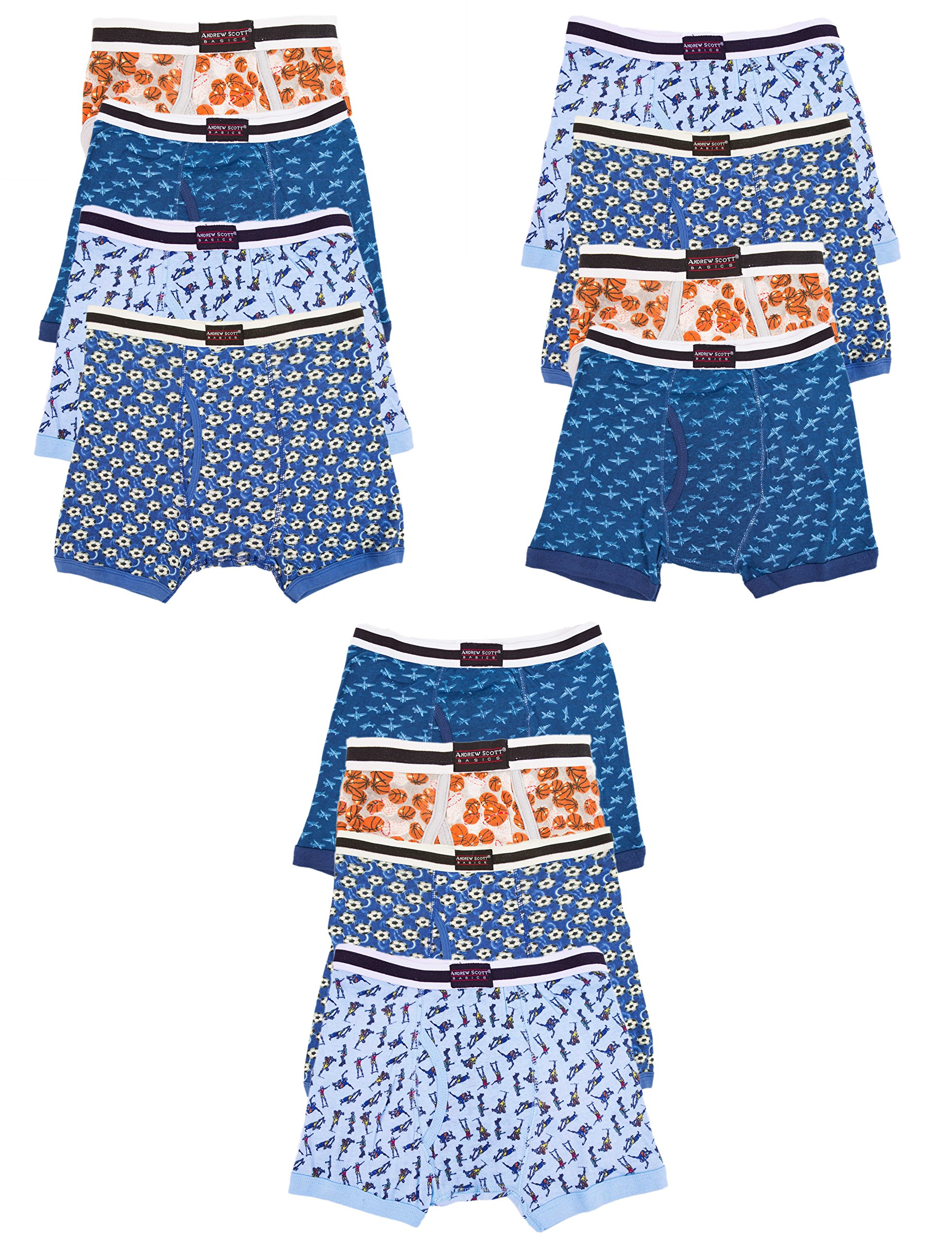 Andrew Scott Boys 12 Pack Boxer Briefs for Toddlers and Boys in Assorted Prints (Medium/ 10-12, Assorted Prints)