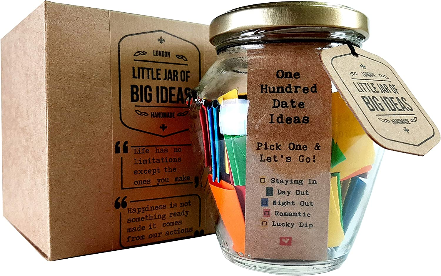 Little Jar Of Big Ideas 100 Date Ideas Pick One Let S Go Unique Thoughtful Gift Memorable Gift Unique Present Artisan Handcrafted Gift Standard Amazon Co Uk Kitchen Home