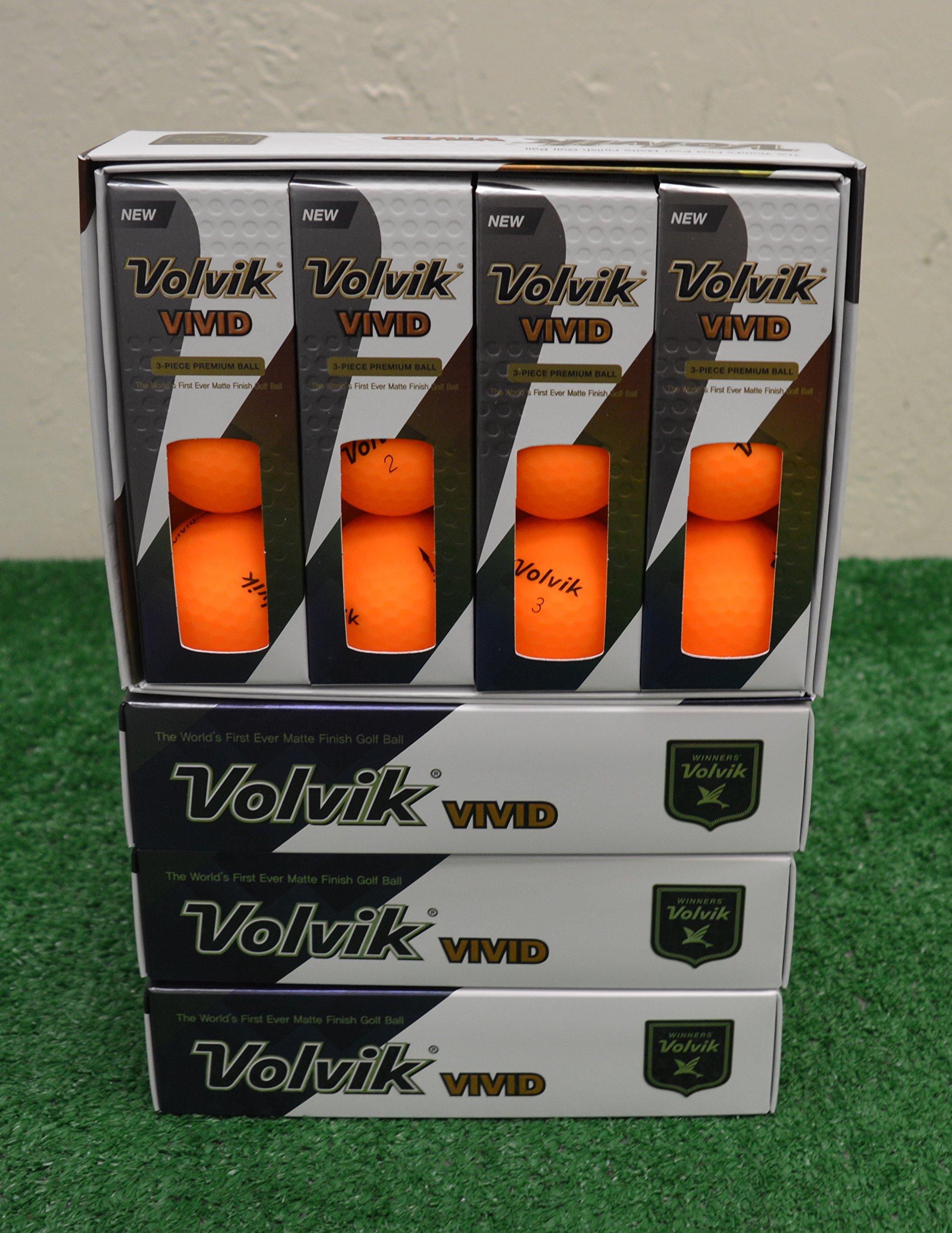 4 Dozen 2018 Volvik Vivid - Matte Sherbet Orange Golf Balls