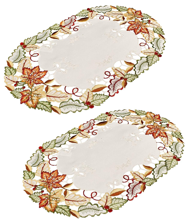 刺繍Fall Maple Leaf Placeマットなドイリー11