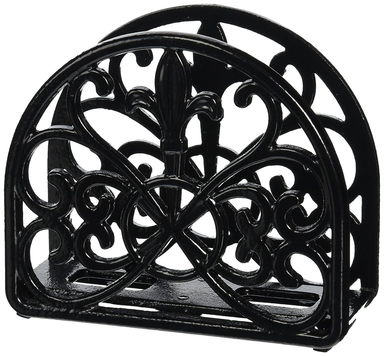 Home Basics Cast Iron Fleur De Lis Napkin Holder (Black)