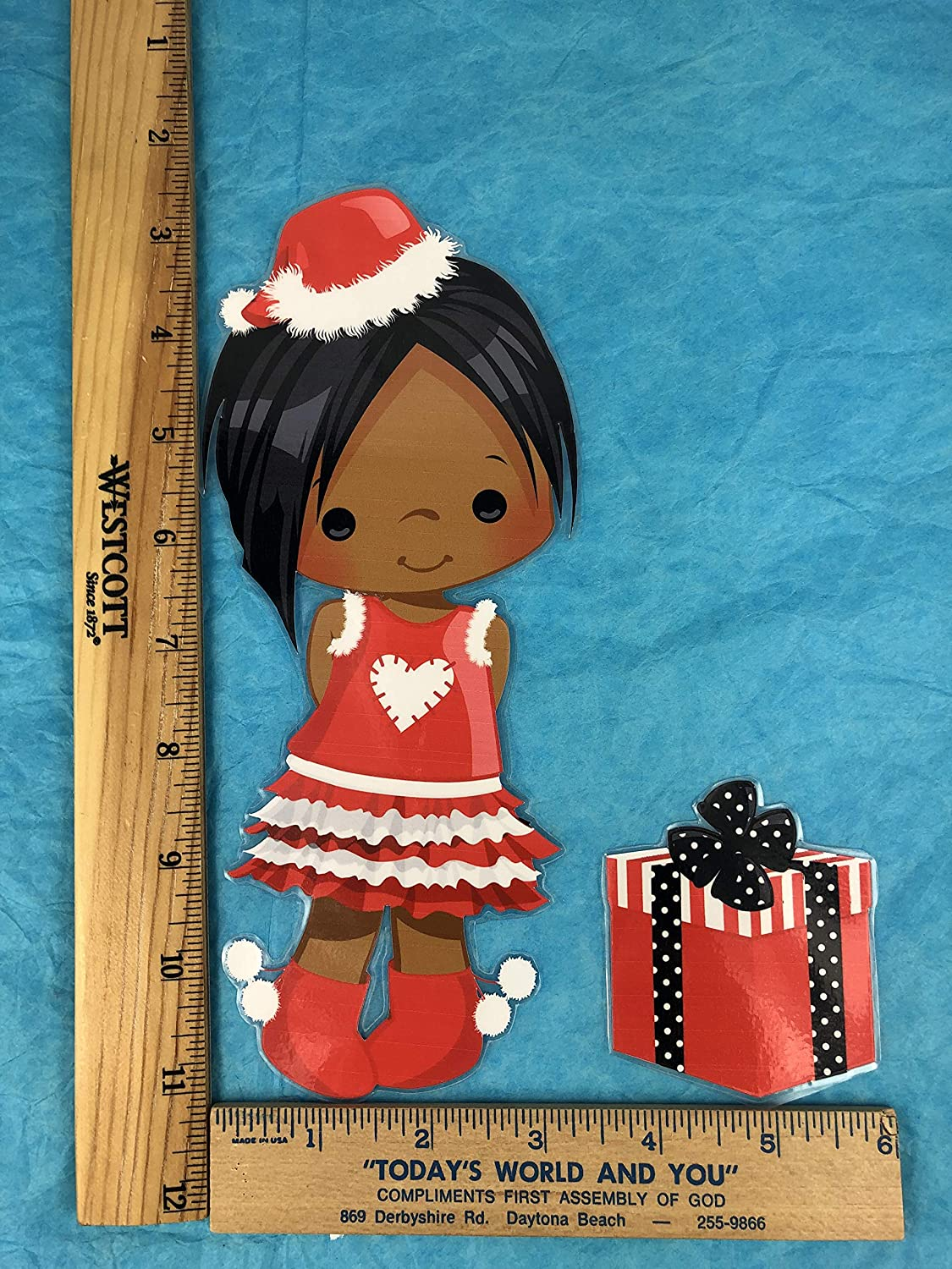 African American Christmas Laminated Paper Doll