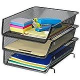 3 Pack - Stackable Desk File Document Letter Tray Organizer, Black