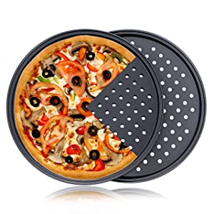 Pizza Pan With Holes, 2 Pack Carbon Steel Perforated Non-Stick Tray Tool Crispy 12inch Round for Home Kitchen