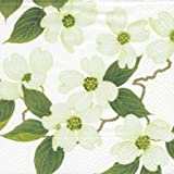 Entertaining with Caspari White Blossom Paper Cocktail Napkins, Pack of 20
