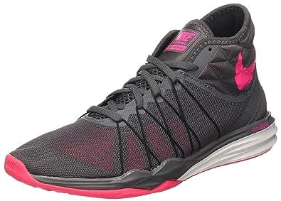 Nike W Dual Fusion TR Hit Mid, Chaussures de Gymnastique Femme, Gris (Dark Grey/Hyper rose-Black-White), 40 EU