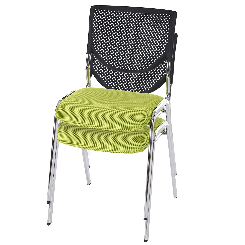 Mendler 2X Besucherstuhl T401, Konferenzstuhl stapelbar, Stoff Textil  Sitz grün, Füße Chrom