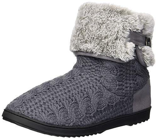 37a900dd345 Dearfoams Women's Cable Knit Boot Slipper Excalibur XL Regular US