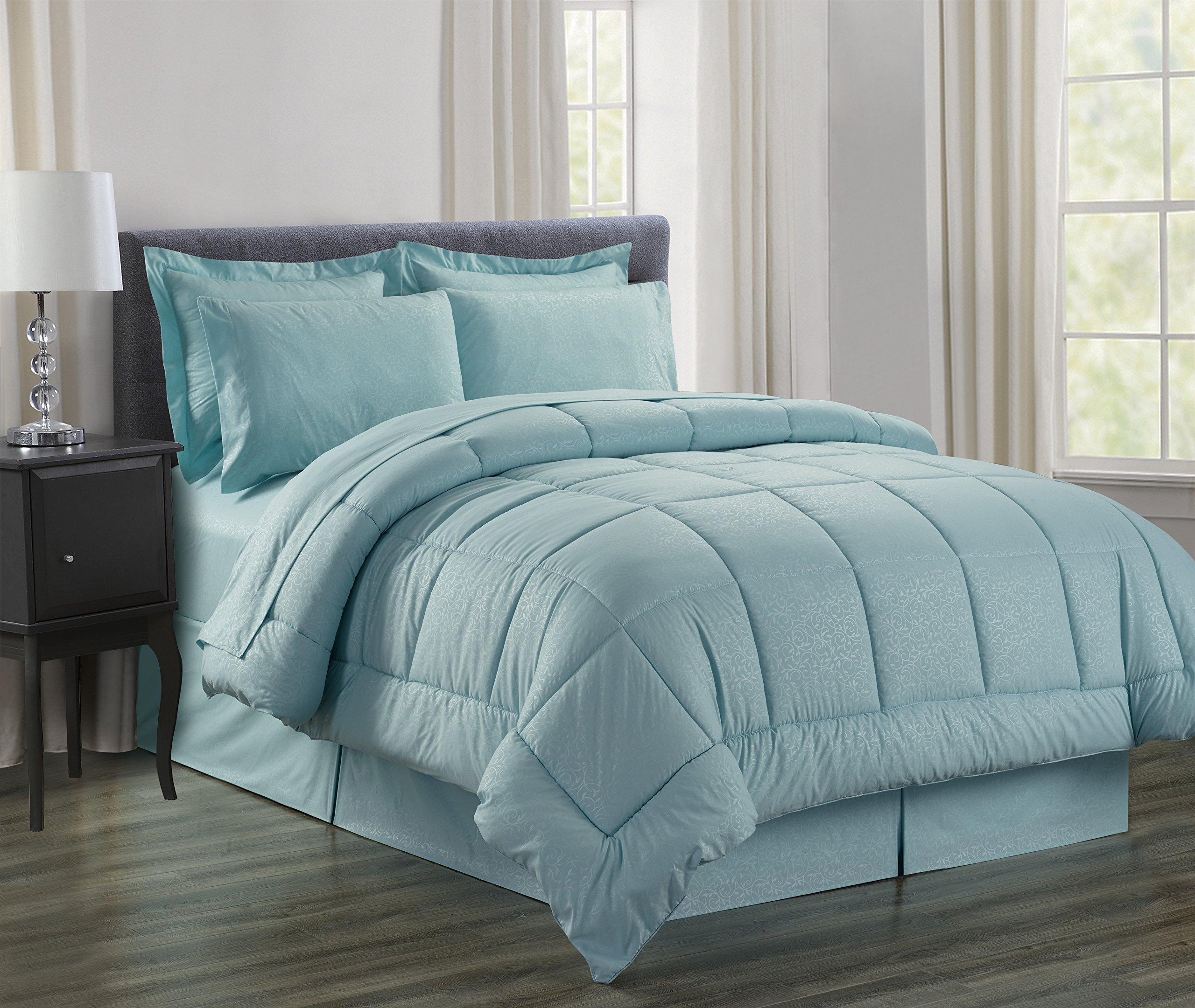 Sweet Home Collection 8Piece Bed in A Bag with Dobby Stripe Comforter, Sheet Set, Bed Skirt, Sham Set - Queen, Vine Turquoise,Queen