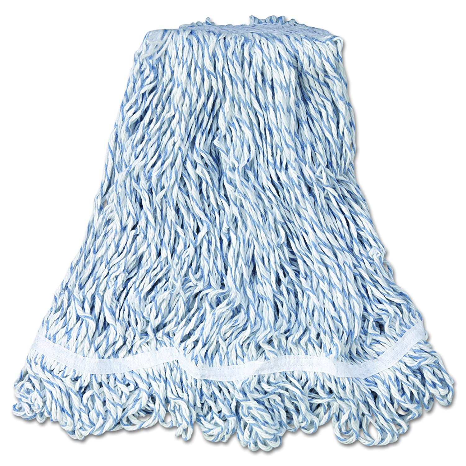 Med White Headband White Case of 6 1 Cotton//Synthetic Rubbermaid Commercial A412 Web Foot Finish Mop