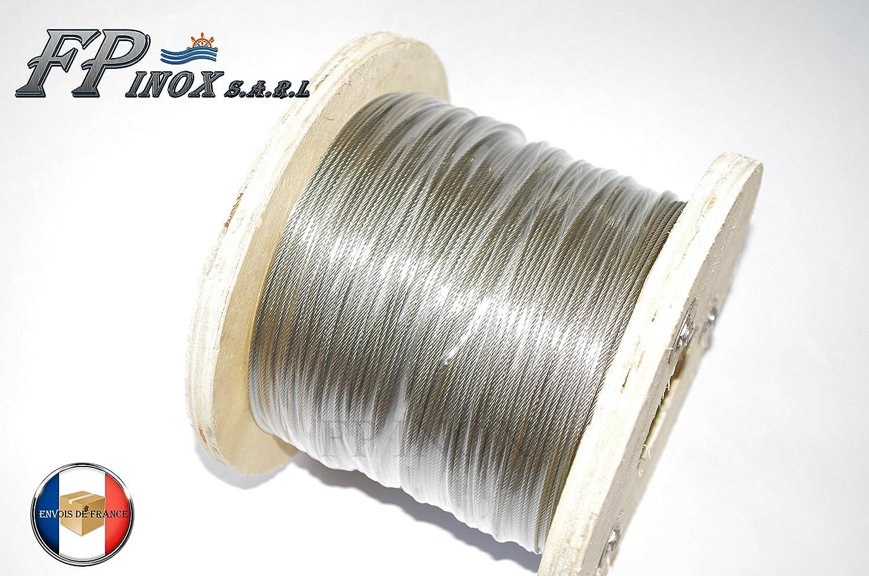 Cable de 6 mm en acero inoxidable 316 A4 suave, 7 x 19 ...