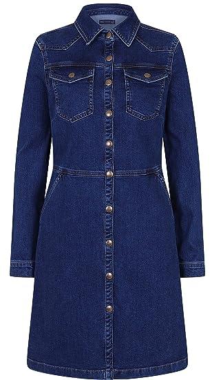 e5b81904438 Fashionlabels4less Ex High Street Brand Womens Ladies Denim Blue Shirt Dress  Added Stretch Pocket Mini Holly W Collection UK Sizes 8-22: Amazon.co.uk:  ...