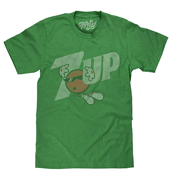 fb1ae7d80 Amazon.com: 7 Up Retro Logo Licensed Mens T-Shirt Green Heather: Clothing