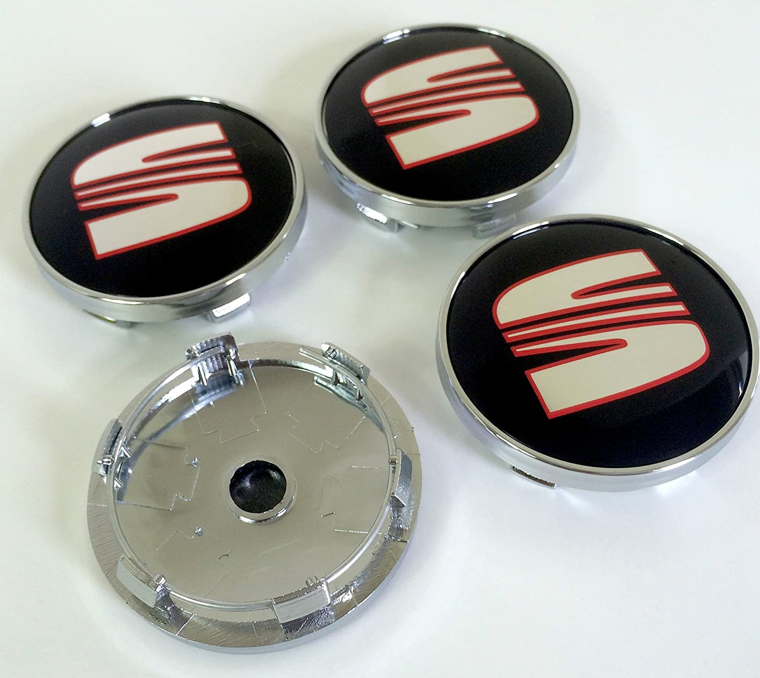 Set of Four Alloy Wheels Centre Hub Caps 60 mm Red Black Logo Chrome Cover Seat Set de cuatro Llantas Center Tapacubos nabenabdeckung Buje Tapa Buje tapas ...