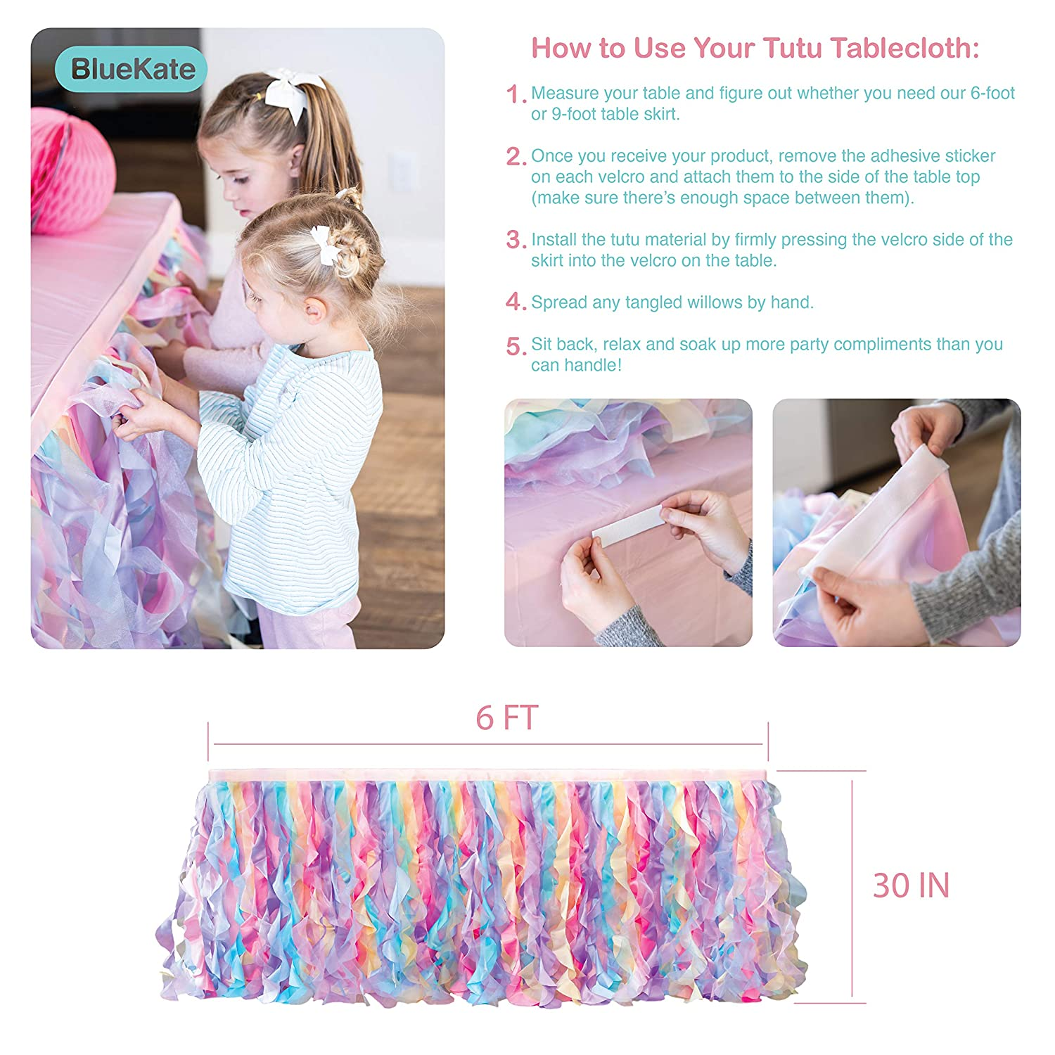 Rectangular and Round Tables 6FT Rainbow Tulle Tutu Table Skirt Double Layer Satin Willows with Glossy Organza Weddings Baby Showers Birthday Party Decorations for Unicorn and Mermaid Parties